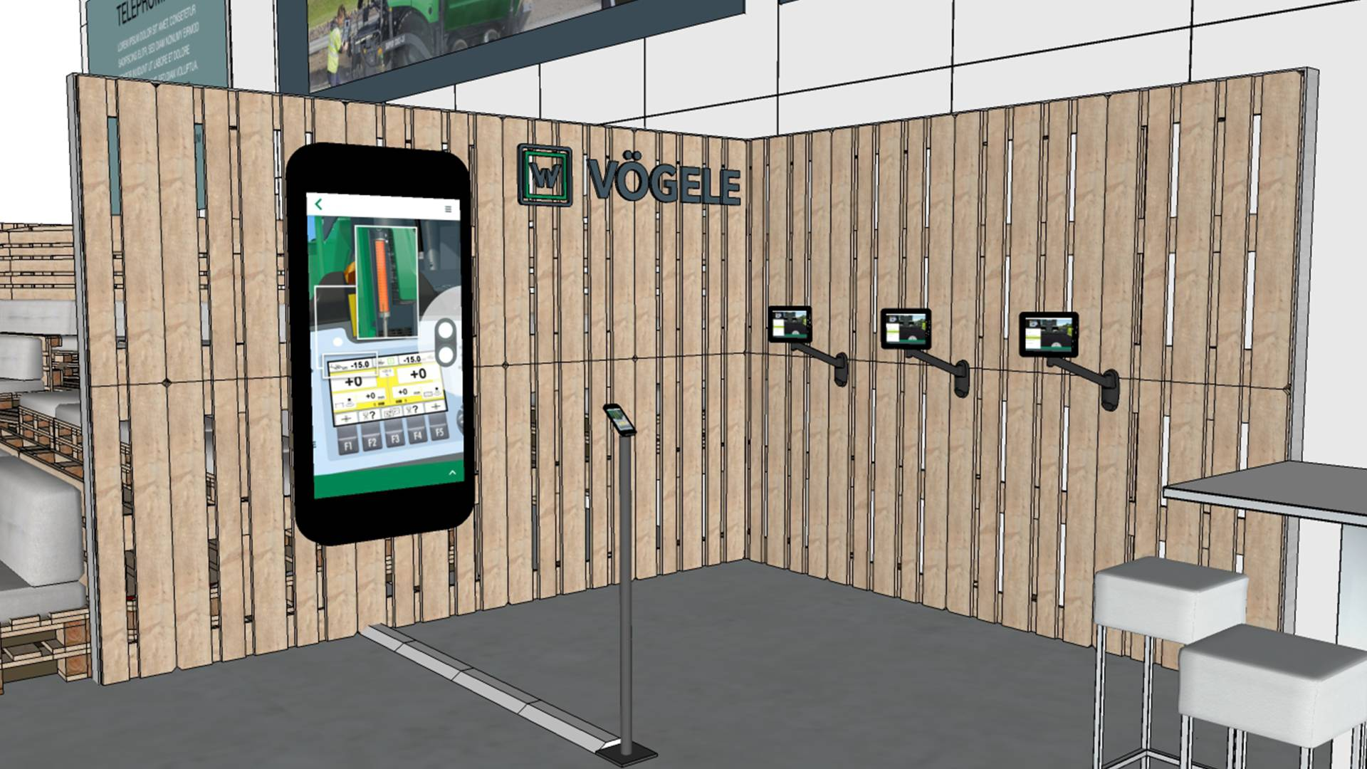 Drawing of a smartphone with the Vögele app